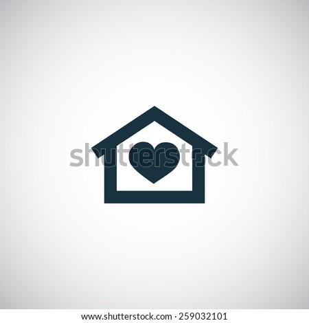 heart home icon on white background - stock photo