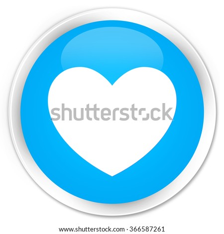 Heart icon cyan blue glossy round button - stock photo