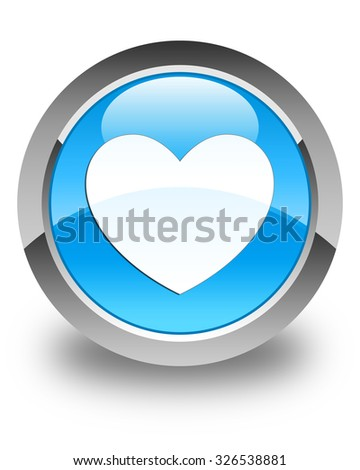 Heart icon glossy cyan blue round button - stock photo