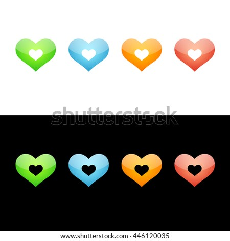 Heart Icon Glossy Glass Set in Four Colors. Raster Version