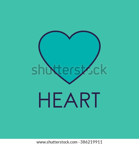 Heart icon or emblem. Line heart concept. - stock photo