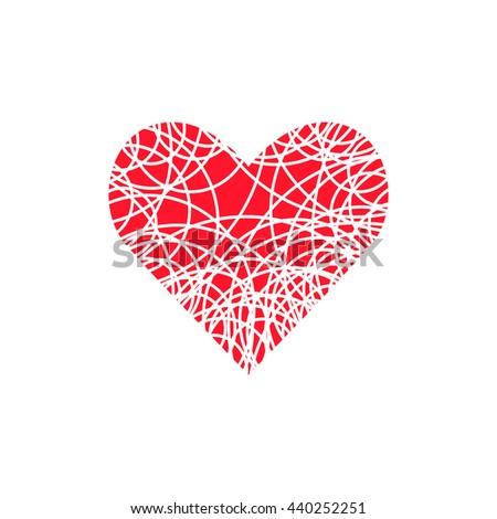Heart icon. Valentine simple original sign. Logo design template. Modern linear element. Red Illustration for print, web - stock photo