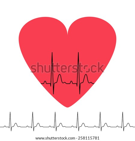 Heart icon with electrocardiogram on white background, 2d illustration, raster - stock photo