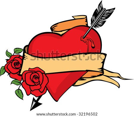 Heart impaled by arrow. - stock photo