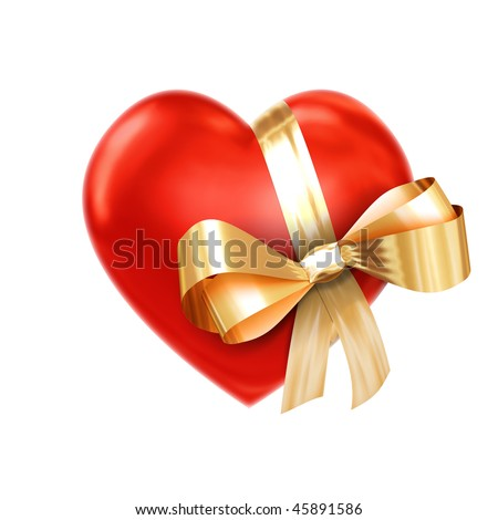 Heart in a golden ribbon