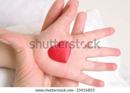 heart in baby`s hand - stock photo