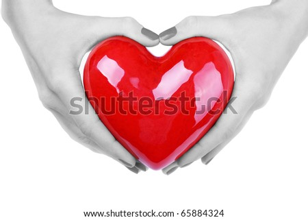 heart in black and white hands - stock photo