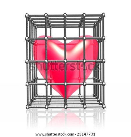 Heart in cage. - stock photo