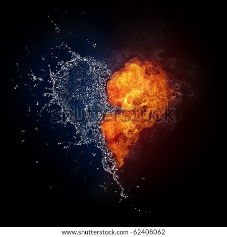 Heart in Fire and Water Isolated on Black Background. Computer Graphics. - stock photo