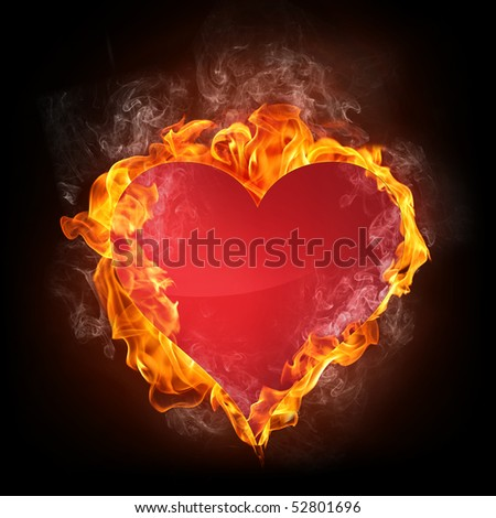 Heart in Fire. Computer Graphics. - stock photo