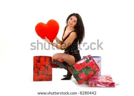 heart in gift - stock photo