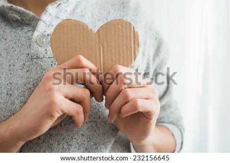 heart in hands closeup - stock photo