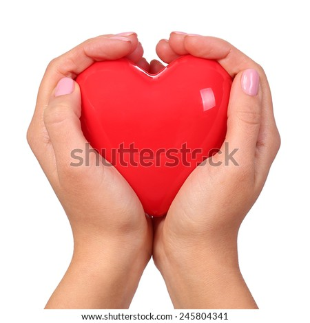 Heart in hands isolated - stock photo