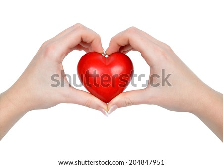 heart in hands isolated on white - stock photo