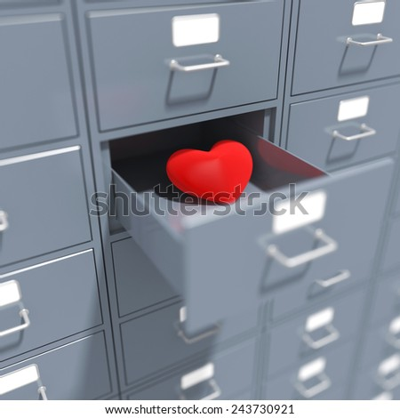 Heart in opened coffer. Render illustration - stock photo