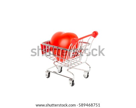 Heart in shopping cart on white background