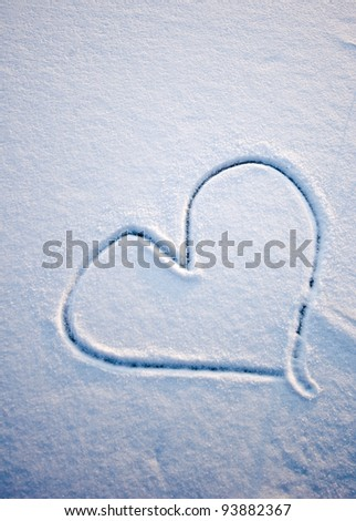 Heart in Snow - stock photo