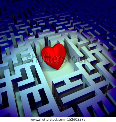 Heart in the dark labyrinth - stock photo