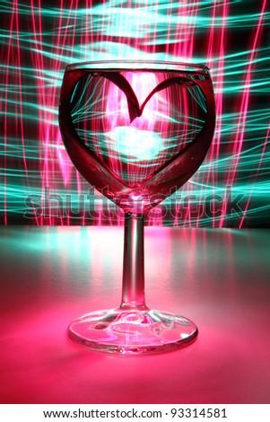 heart in the drink - stock photo