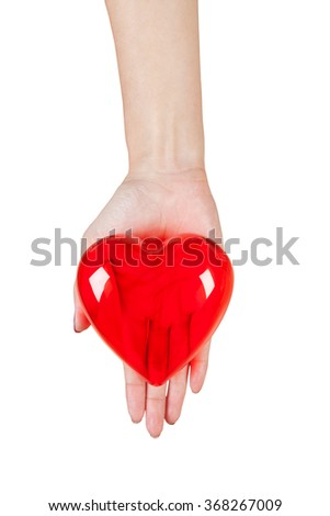 Heart in the hands isolated on white background - stock photo