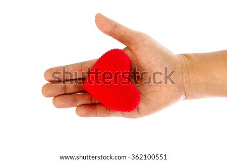 Heart in the hands on white background - stock photo