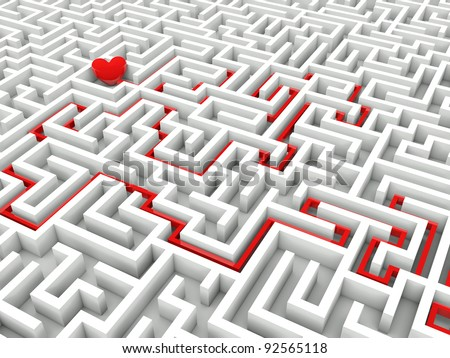 Heart in the middle of the maze with path to it