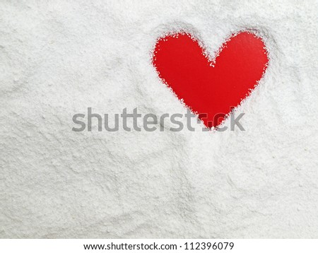 heart in the snow - stock photo