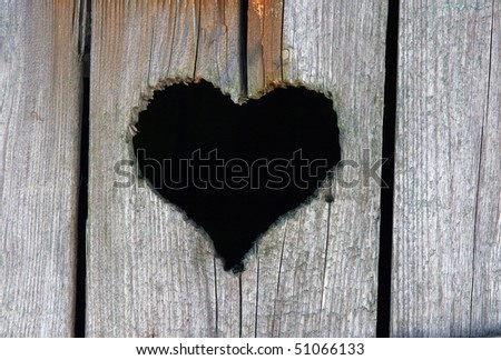 heart in wood - stock photo