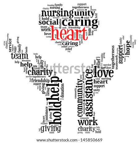 heart info-text graphic and arrangement concept on white background (word cloud) - stock photo