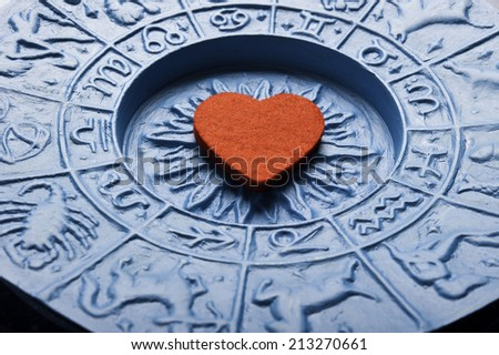 heart inside a astrology plate - stock photo