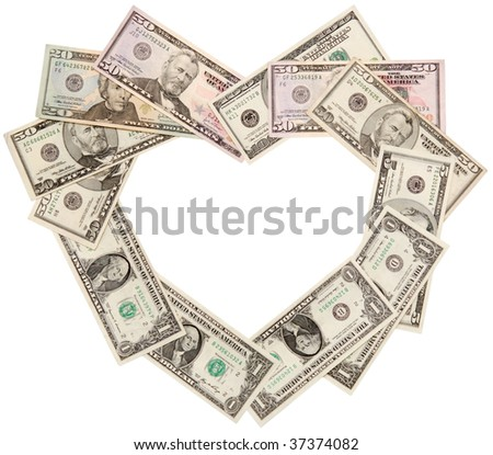Heart is laid out from dollars of various face value, isolated on a white - stock photo
