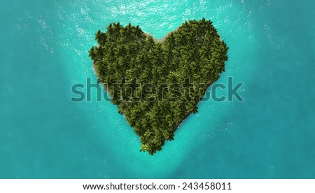 heart island on the sea for summer holidays - stock photo