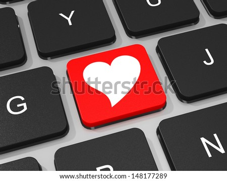 Heart key on keyboard of laptop computer. 3D illustration.