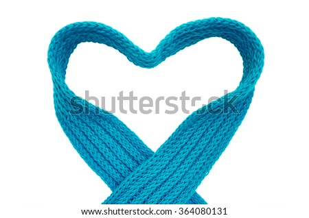 Heart knit scarf - stock photo