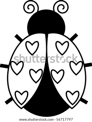Heart Ladybug - stock photo