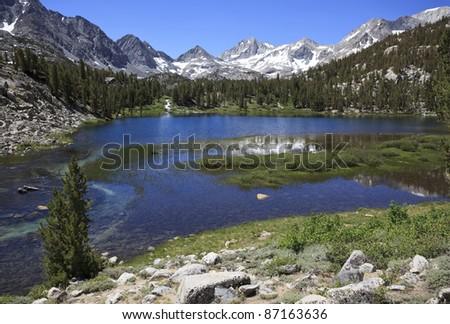 Heart Lake in eastern Sierra Nevada mountains of California - stock photo