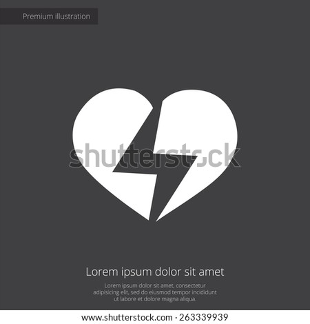 heart lightning premium illustration icon, isolated, white on dark background, with text elements