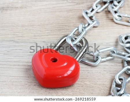 heart lock chain - stock photo