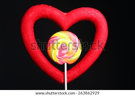 heart-lollipop, candy, concept love, valentine - stock photo