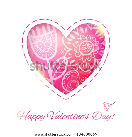 Heart Love card with Flower. Raster version. illustration, can be used as creating card, wedding invitation, birthday, valentine's day and other holiday and summer or spring background. - stock photo