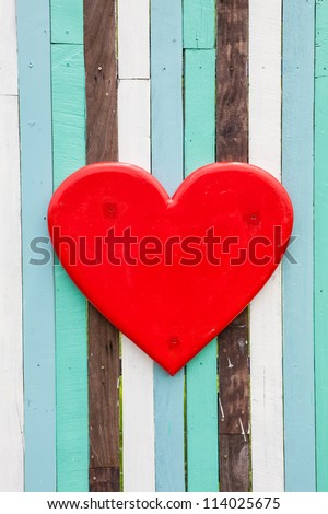 heart love on wooden wall