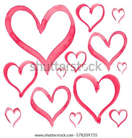 Heart Love Shape Set Vector Watercolor Stock Vector 794411515 ...