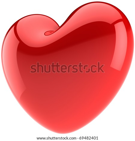 Heart Love Valentines day symbol total red. Glossy romantic design element. This is a detailed render 3d (Hi-res). Isolated on white background - stock photo