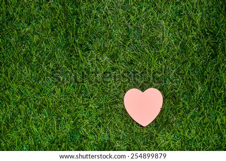 Heart lying on green grass