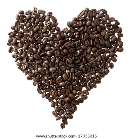 heart made by coffee beans - stock photo