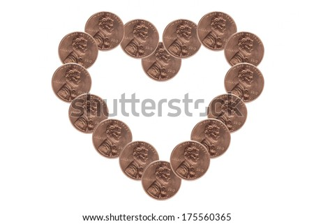 Heart made by US Pennies isolated on white - stock photo