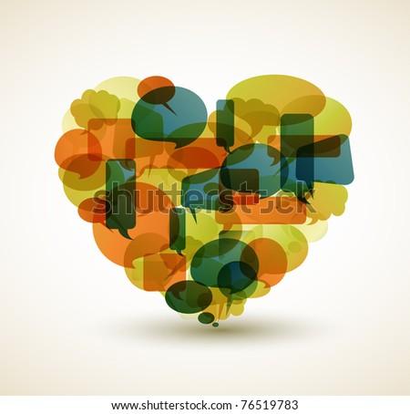 Heart made from cartoon bubbles - stock photo