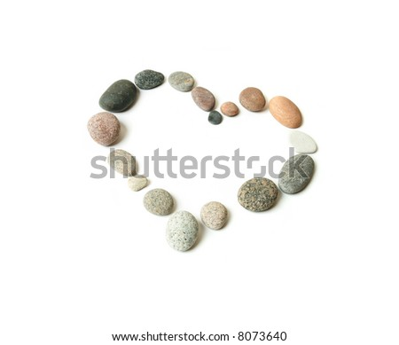 Heart made from pebbles, isolated on white - stock photo