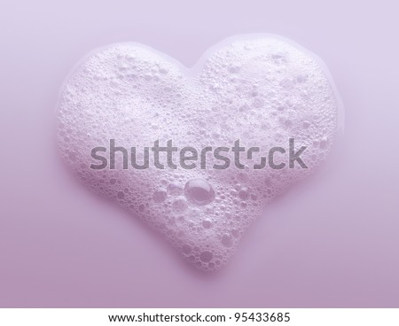 Heart Made from Soap Foam - stock photo