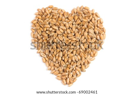 Heart made from wheat grain